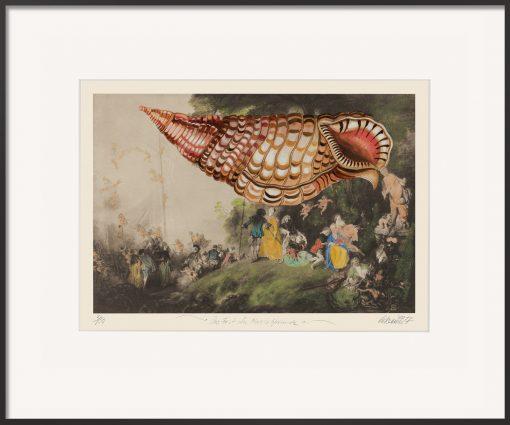 Das Fest der Muschelfreunde ist eine Surreale Malereicollage auf einem Gemälde von Antoine Watteau