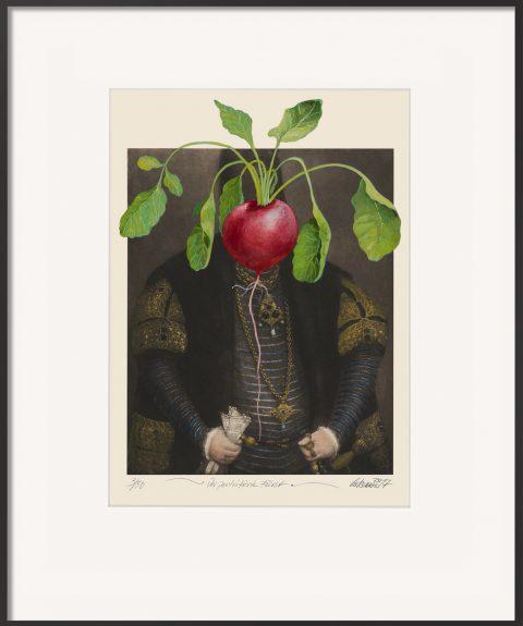 Der porträtierte Fürst ist eine Malereicollage von Thomas Gatzemeier