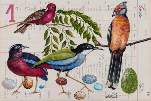 Osterspaziergang Osterpostkarte mit bunten Vögeln und Eiern