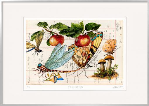 Thomas Gatzemeier Blauflügellibelle ist eine farbintensive Grafik mit einer auch Seejungfer genannten Libelle.