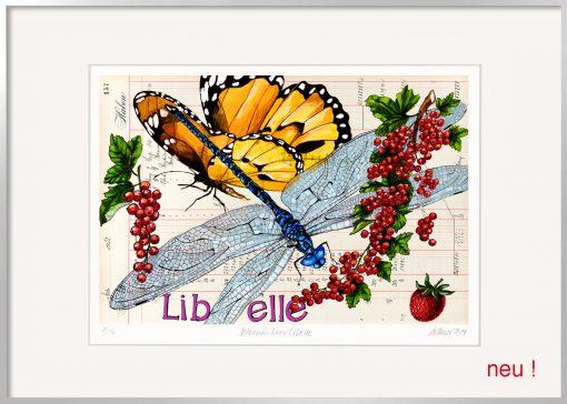 Thomas Gatzemeier Jonannisbeerlibelle ist eine Grafik mit Insekten, Schmetterling, Libelle und roten Beeren