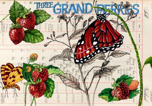 Tree-Grand-Berries-2019-Acryl,-Tusche-auf-Kontopapier-32,-7-x-48,5-cm