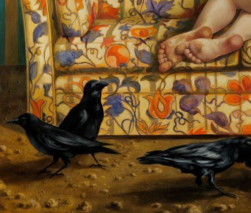 Detail des Ölbildes Die Vögel von Thomas Gatzemeier mit Raben im Zimmer
