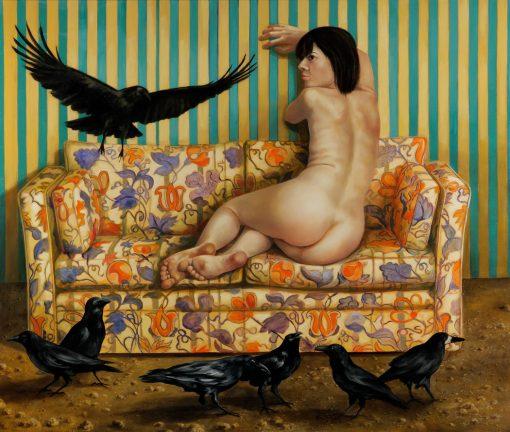 Thomas Gatzemeier | Die Vögel ist ein Gemälde auf dem eine Frau zu sehen ist, die von Raben umzingelt ist.
