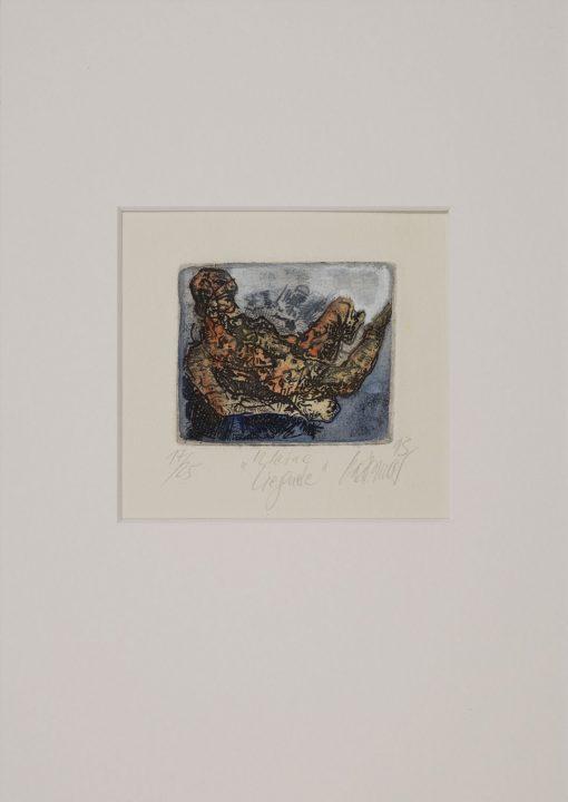 Gatzemeier 1993 Kleine Liegende ist eine kolorierte Radierung im Format 7 x 8 cm