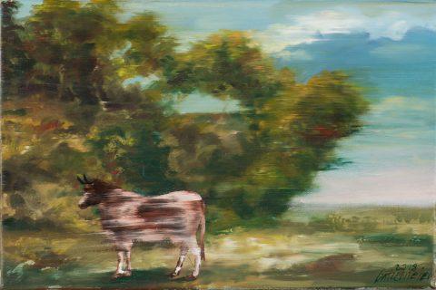 Gatzemeier Kuh in einer Böcklinschen Zeigt eine Kuh in einer Landschaft mit Bäumen
