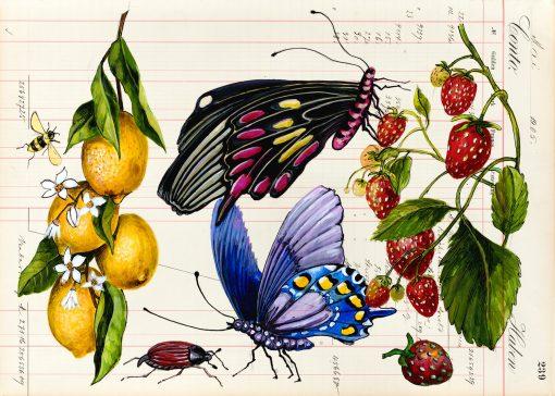 Schöne Sommer Postkarte mit Schmetterlingen