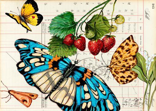 Sommer Postkarte mit blauem Schmetterling und Erdbeeren