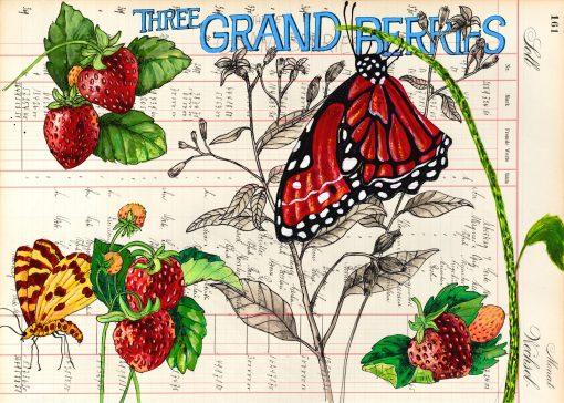 Grand Berries Postkarten mit Erdbeeren mit Erdbeeren und Schmetterlingen