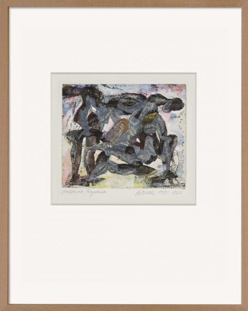 Die handkolorierte Grafik von Thomas Gatzemeier Skulturale Fragmente ist eine mit Aquarell und Acryl bearbeitete Radierung aus dem Jahr 1995