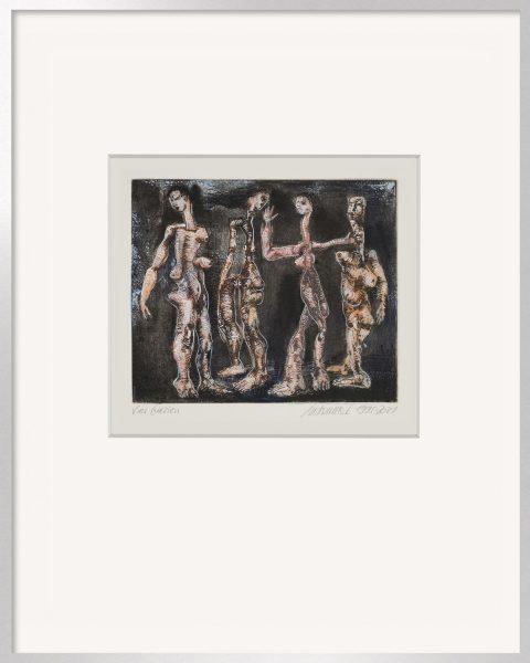 Die handkolorierte Grafik Thomas Gatzemeier Vier Grazien 2 ist auch mit Alu-Rahmen lieferbar