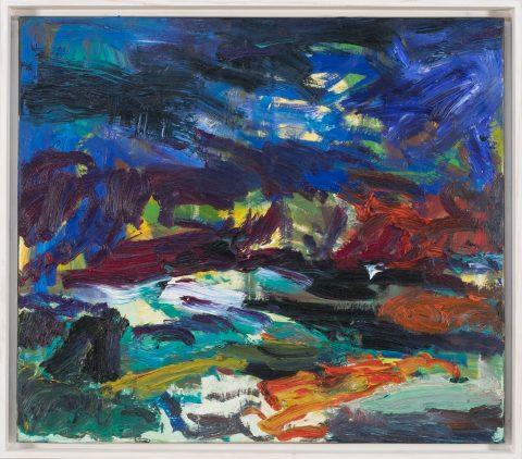 Das Gemälde des Malers Torsten Ueschner Blaue Landschaft Nr.285 stellt eine expressiv gemalte Landschaft mit dunkel Blauem Himmel dar.