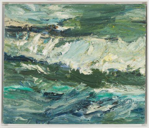 Torsten Ueschner Seestück Nr.262 ist ein imposantes Ölgemälde des zeitgenössischen Künstlers. Dieses Gemälde stellt eine wogende Welle mit all seiner Kraft dar.