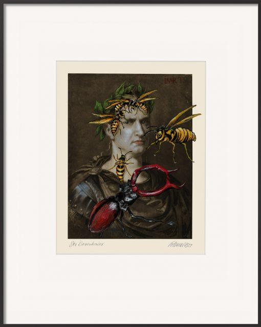 Das Kunstwerk von Thomas Gatzemeier Der Bienenkaiser stellt Kaiser Caesar dar, wie er von Bienen attackiert wird