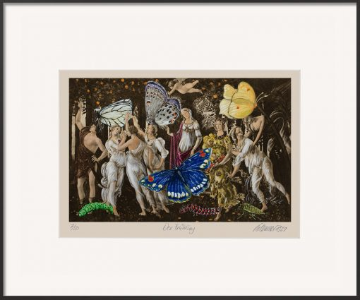 Der Pigmentdruck von Thomas Gatzemeier Der Frühling ist eine Malereicollage nach einem Gemälde von Sandro Botticelli. Farbig und mit Schmetterlingen.