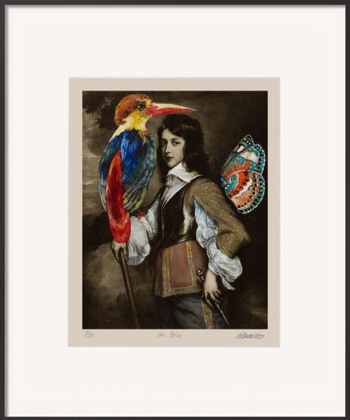 Die Malereicollage von Thomas Gatzemeier Der Prinz stellt einen jungen Mann mit einem bunten Vogel und einem Schmetterling dar.